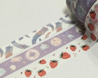 1 Roll Limited Edition Washi Tape (Pick 1): Feather, Diamond, or Strawberry