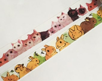 1 Roll of Limited Edition Washi Tape (Pick 1): Cats or Hare