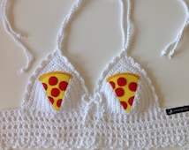 Pizza Slices Crochet Festival Halter Bra