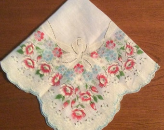 Pink and Blue Scalloped Floral Hankie