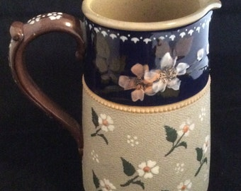 Handpainted Glazed Stoneware Pitcher