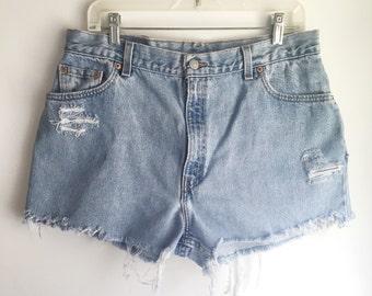 High Waisted Levi's Jean Shorts Cutoffs Size 32