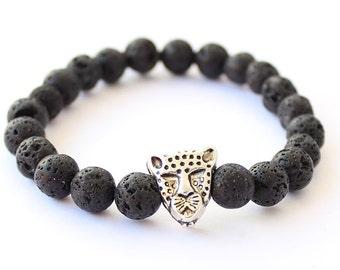 Men's bracelet, lava stone bracelet, black beads for men, mens bracelet, cheetah bracelet, gift for men, gift for him