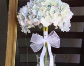 Wedding Bouquet, Fabric Bridal Bouquet,  Blue Cream Ivory Hydrangeas Bouquet, Ready to Ship