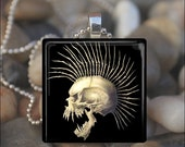 15% OFF AUGUST SALE : Punk Vampire Skull Goth Halloween Glass Tile Pendant Necklace Keyring