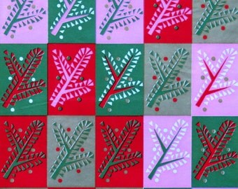 Vintage Kaycrest CHRISTMAS Gift Wrap - Wrapping Paper - Abstract PINE - with coordinating gift tag - 1960s