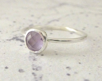 Amethyst Ring - Sterling Silver Ring - Stacking Stone Set Ring - Slim Sterling Silver and Amethyst Ring