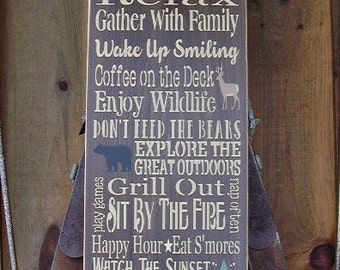 Wood Sign, Large Cabin Rules, Cabin Decor, Personalized, Handmade, Subway, Word Art