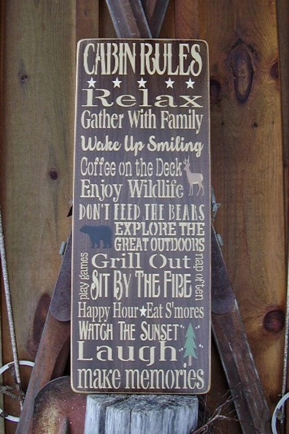 wood sign large cabin rules cabin decor by rusticnorthern