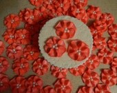 """50 - 1"""" Coral Royal Icing Drop Flowers for Cakes, Cupcakes, Cakepops, Cookies"""