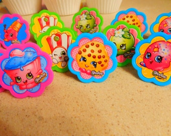 36 Shopkins Cupcake Topper Rings Birthday Party Decoration