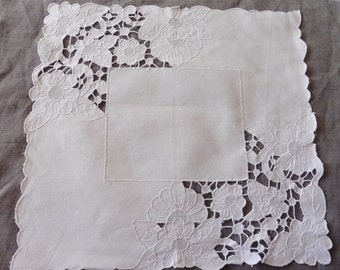 French Vintage,4 Embroidered ,French Lace Linen, White-work ,Cutwork , Place Mat's, Hand Embroidered , Vintage, French Decor,Boudoir, Pillow