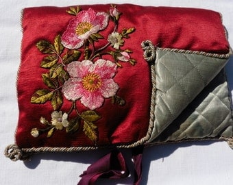 French Vintage ,French Antique Silk, Silk Roses Embroidery, Red Vintage Silk, Paris France,  Pillow Sachet Boudoir Shabby and Chic
