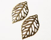 20pcs Bronze Leaf Charms 23x13mm Antique Brass Leaf Pendants, Filigree Leaf Charms, Thin Flexible Charms, Nature Charms for Jewelry Making