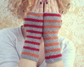 Grey long arm warmers, knit fingerless gloves, mirrored wool mittens in red and orange