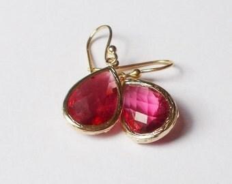 10% OFF SALE Rasberry Teardrop Earrings - Faceted Glass Dangle Earrings