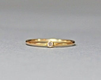 Valentines Day Gift Sale 14K Gold Filled White Topaz Stacking Ring - Gold Ring - Gold Stacking Ring - April Birthstone Ring