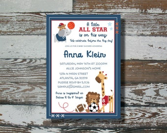 Lambs and Ivy All Star Baby Shower Invitation - Printable