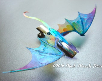 Dragon Hair Clip (crocodile), Various Colours, iridescent shimmering, handmade hair accessory single hair clip