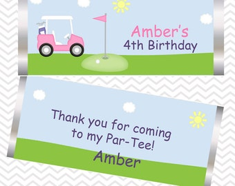 Golf Cart Pink - Personalized Candy Bar Wrapper, Birthday, Baby Shower