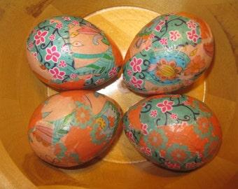 Tangerine Dreams Decoupage Paper Mache Easter Eggs: Set of 4