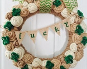 NEW St. Patrick's Day Wreath/Burlap Rose Wreath/Shamrock Wreath/Jute Yarn Wreath/March/Lucky Banner/Bunting