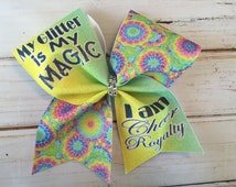 Cheer Bow, Glitter Cheer Bow, Rainbow Cheer Bow, Pink Cheer bow, Blue Cheer Bow, Cheerleader Gift, All Star Cheer Bow, Yellow Cheer Bow