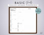 Traveler's Notebook BASIC BUNDLE - Printable PDF - Neat Theme - 15+ sheets - fits Midori Standard