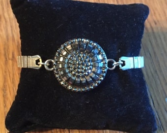 Marcasite Button and Vintage Watchband Bracelet