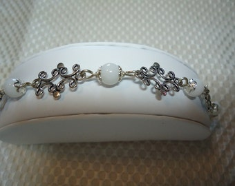 White Jade and Sterling Bracelet    1805