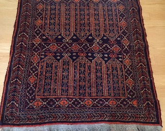 vintage Persian style navy wool rug