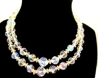 Vintage High End Aurora Borealis AB Crystal Double Strand Choker Necklace