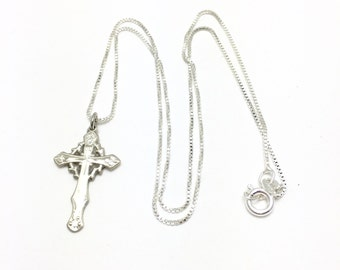Sterling Silver Cross Pendant Necklace with 17 Inch Sterling Silver Chain - 3.6 Grams - Religious - Christ - Christian #4160