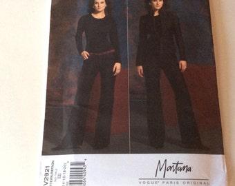 Vogue Montana Pattern, Vogue Paris Original, Vogue 2921, Jacket and Pants Pattern, Size 14 16 18 20, Uncut
