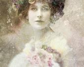 Vintage image altered art,Vintage Lady,Roses,Image Instant Download.