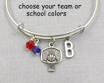 Basketball Gift, Basketball Bracelet Basketball Bangle Basketball Charm School Colors Personalized Initial Team Gift Coach Gift Team Jewelry