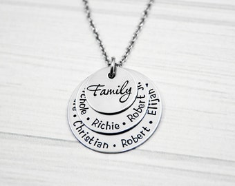 Family Stack of Love - Hand Stamped Mommy Jewelry - Three Layer Stainless Steel Necklace  - Personalized Mom or Grandma Necklace