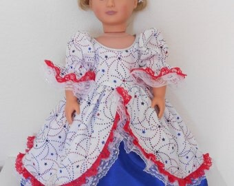 Beautiful Patriotic/ 4th of July Gown for American Girl doll and 18 inch dolls
