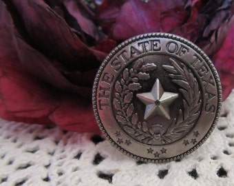 Concho State of Texas Seal  Antique Silver Chicago Screw Back  Leather Crafts Belts Hats Vests Equestrian Western Wear Texas Star