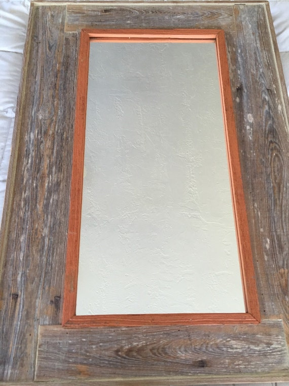 Reclaimed Wood Mirror With Copper Trim