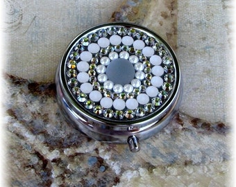 Silver Metal Swarovski Preciosa Rhinestone Crystal Matte Pearl Bling White Clear Pill Medication Box Case Holder Gift