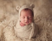 Knit alpaca bear bonnet and matching alpaca wrap Newborn photo prop preorder 13 colors