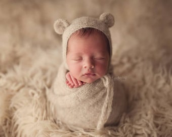 Knit alpaca bear bonnet and matching alpaca wrap Newborn photo prop preorder 13 colors