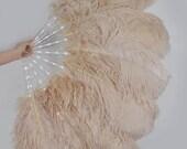 Burlesque Dance Beige Camel Glittery LED Shine Bushy Double Ostrich Feather Fan Burlesque