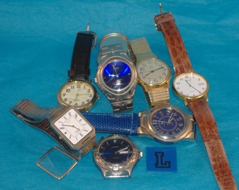 7 Vintage Mens Watches, Broken Jewelry, Steampunk, Repurpose, Recycle Jewelry - L