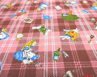 Japanese Fabric KOKKA Alice Wonderland Tartan check Pink FQ