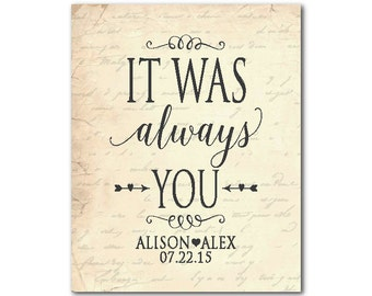 It was always you - Personalized Anniversary gift - Wedding gift - typography chalkboard look French script - Customizable - Valentines gift