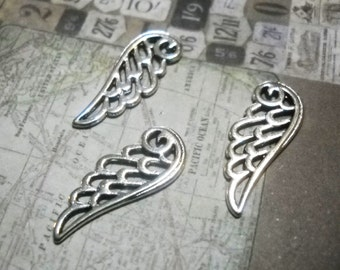 Angel Wing Charms Pendants 24mm Wing Charms Antiqued Silver Wings Bulk Charms Wholesale Charms-50 pieces FILIGREE