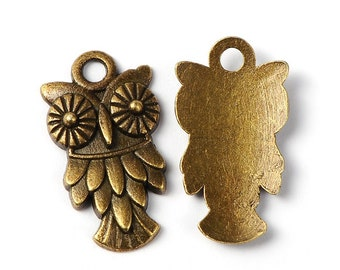 Owl Charms Pendants Antiqued Bronze Owl Charms Bulk Charms Wholesale Charms 50 pieces