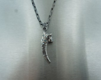 Blue Diamond Eagle Claw Pendant (Sterling Silver)